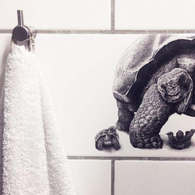Pynt din flise med denne herlige skildpadde tegnet af Draw Doodles Study