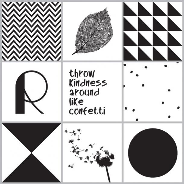 Konfetti - Schwarz - Set mit 9 - Durchsichtige Fliesenaufkleber 15x15 cm
