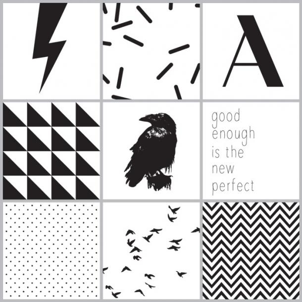 Fugle - Sort - Sæt af 9 - Gennemsigtige stickers 15x15 cm