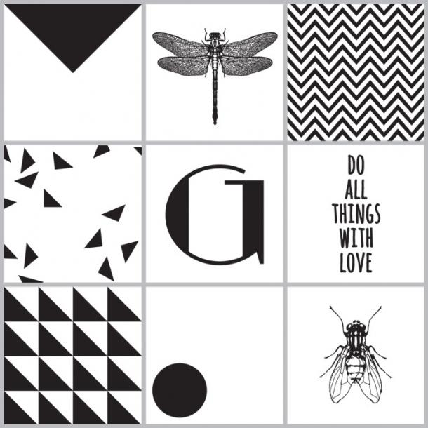 Insekten - Schwarz - Set mit 9 - Durchsichtige Fliesenaufkleber 15x15 cm