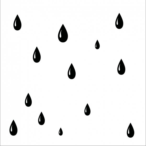 Dråber - Sort - Gennemsigtig sticker 14,7x14,7 cm