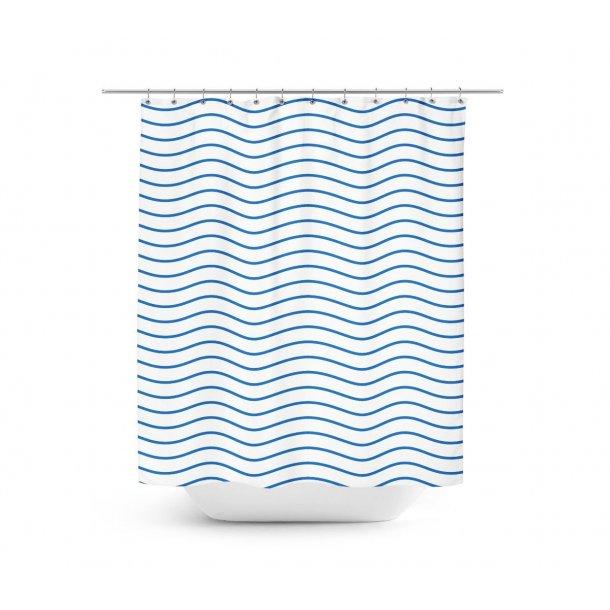 Blå bølger Badeforhæng
