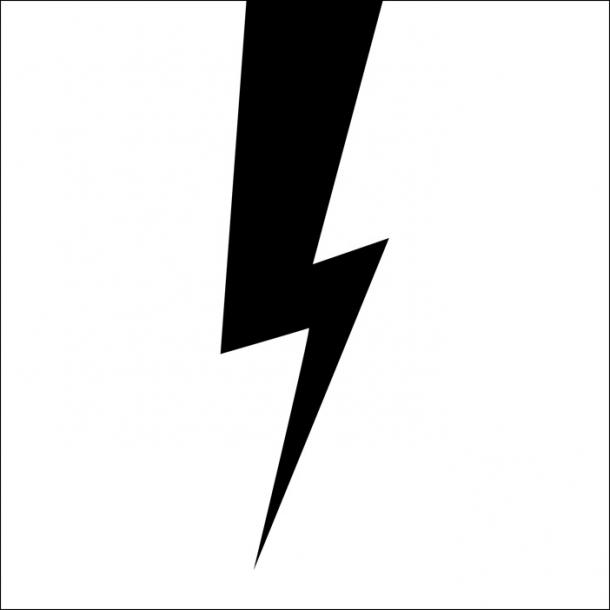 Blitz - Schwarz - Durchsichtiger Fliesenaufkleber 15x15 cm