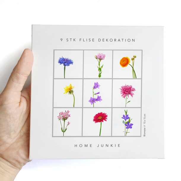Blomster - Sæt af 9 - Gennemsigtige stickers 15x15 cm