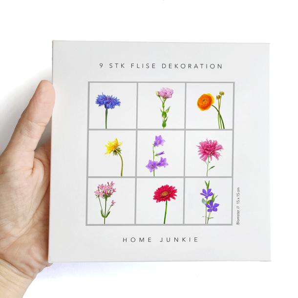 Blomster - Sæt af 9 flisestickers 15x15 cm - Gennemsigtig folie