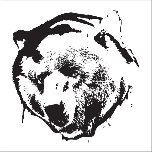 Bär - Schwarz - Durchsichtiger Fliesenaufkleber 15x15 cm