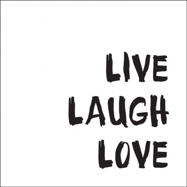Live Laugh Love - Schwarz - Durchsichtiger Fliesenaufkleber 15x15 cm