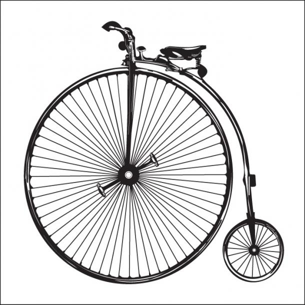Fahrrad - Schwarz - Durchsichtiger Fliesenaufkleber 15x15 cm