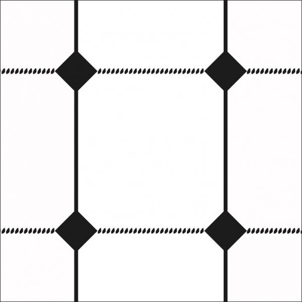 Geschirrtuch Muster - Schwarz - Durchsichtiger Fliesenaufkleber 15x15 cm