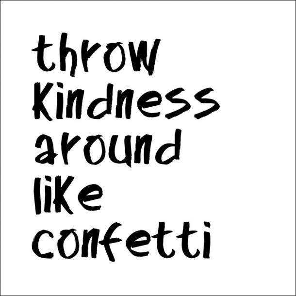 Throw kindness around... - Schwarz - Durchsichtiger Fliesenaufkleber 15x15 cm
