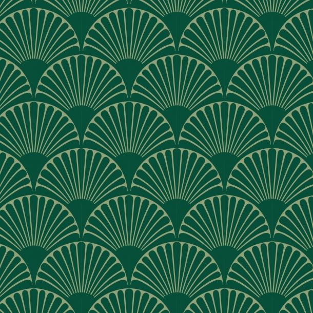 Art Deco Bögen - Grüner Mix - Deckende Fliesenaufkleber 15x15 cm