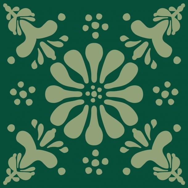 Blomst - Grøn Mix - Heldækkende sticker 15x15 cm