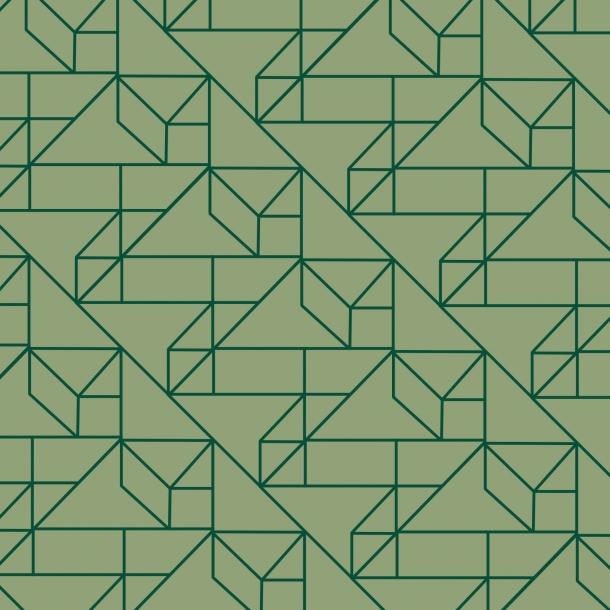 Grafisk Mønster - Grøn Mix - Heldækkende sticker 15x15 cm