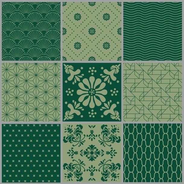 Muster - Grüner Mix - Set mit 9 - Deckende Fliesenaufkleber 15x15 cm