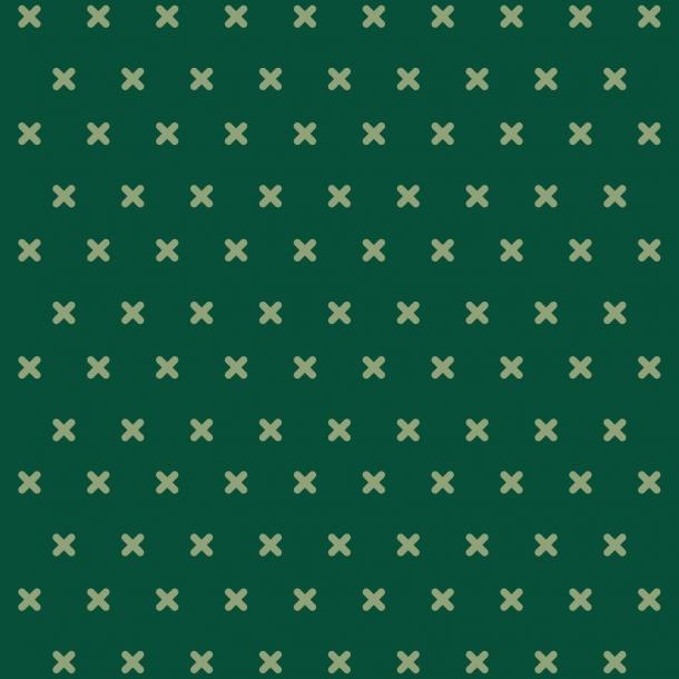 Korssting - Grøn Mix - Heldækkende sticker 15x15 cm