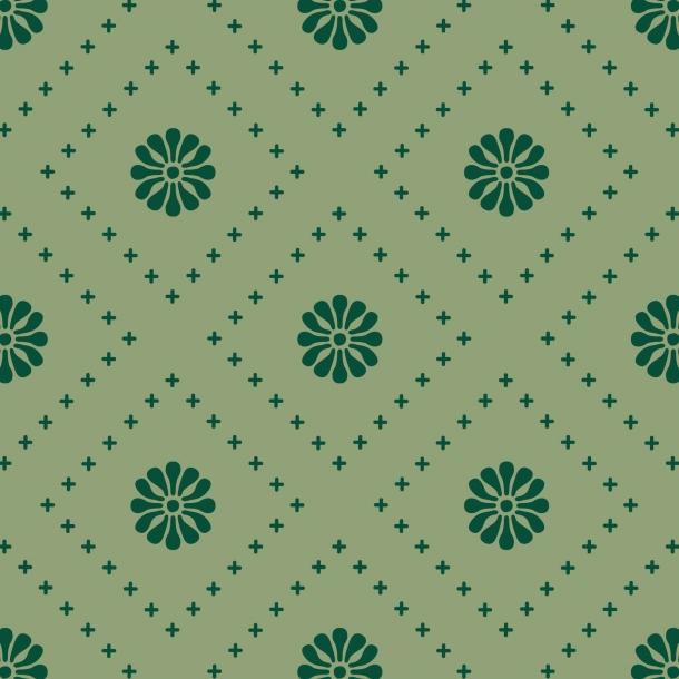 Kleine Blumen - Grüner Mix - Deckende Fliesenaufkleber 15x15 cm