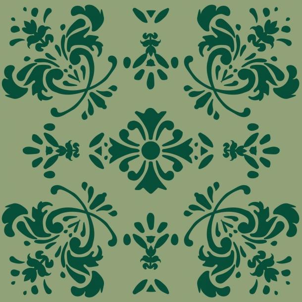 Romantische Blume - Grüner Mix - Deckende Fliesenaufkleber 15x15 cm