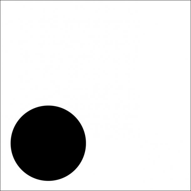 Lille dot - Sort - Gennemsigtig sticker 15x15 cm