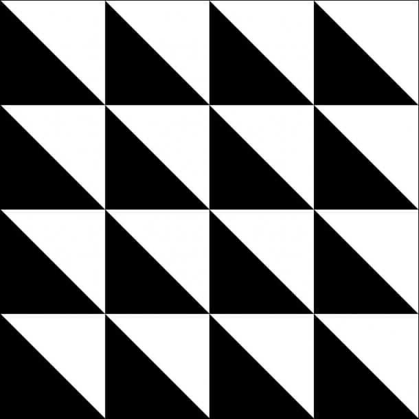 Dreieckiges Muster - Schwarz - Durchsichtiger Fliesenaufkleber 15x15 cm