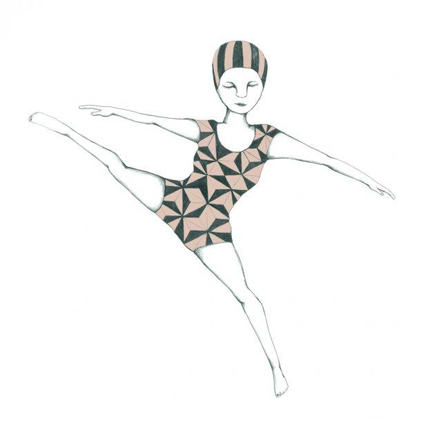 Gymnastik - Gennemsigtig flisesticker 15x15 cm