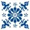 Blomst - Blå - Gennemsigtig sticker 15x15 cm