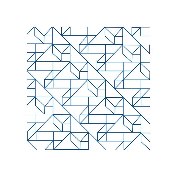 Grafisk Mønster - Blå - Gennemsigtig sticker 15x15 cm