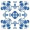 Romantisk Blomst - Blå - Gennemsigtig sticker 15x15 cm