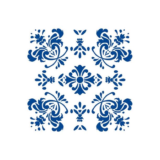 Romantische Blume - Blau - Deckender Fliesenaufkleber 15x15 cm