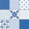 Blå Mønstre - Sæt af 9 - Gennemsigtige stickers 15x15 cm