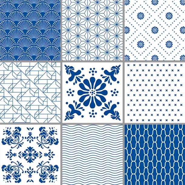 Patterns Blue Box Set Of 9 15x15 Cm