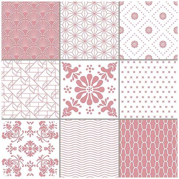Rosa mønstre - Sæt af 9 flisestickers 15x15 cm - Gennemsigtig folie