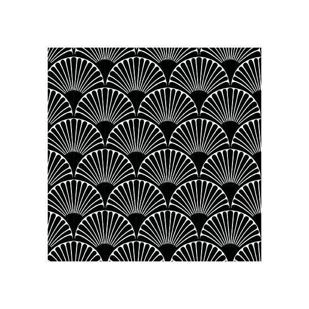 Art Deco Bögen - Schwarz - Durchsichtiger Fliesenaufkleber 15x15 cm