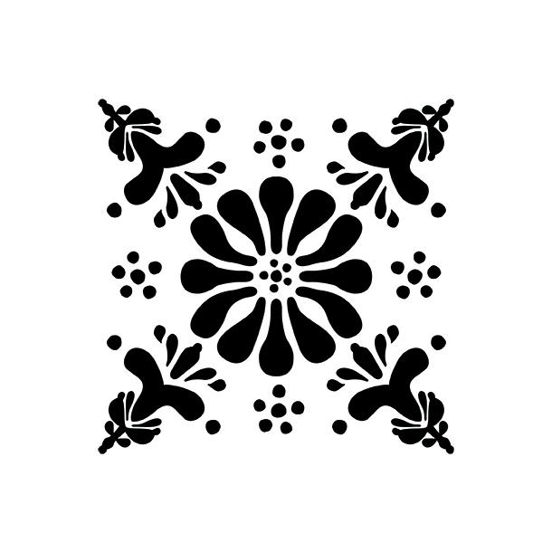 Blume - Schwarz - Durchsichtiger Fliesenaufkleber 15x15 cm