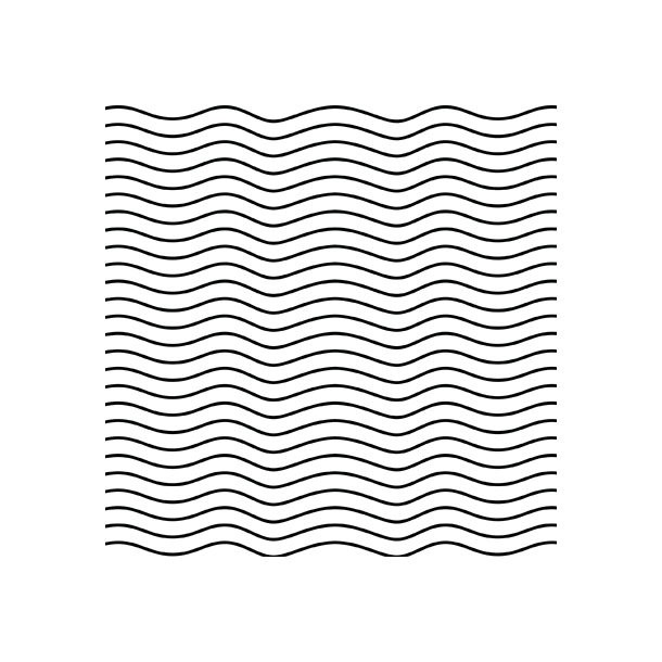 Bølger - Sort - Gennemsigtig sticker 15x15 cm