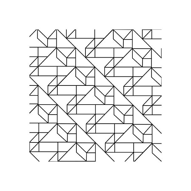 Grafisches Muster - Schwarz - Durchsichtiger Fliesenaufkleber 15x15 cm