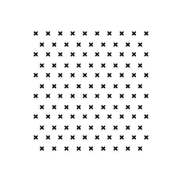 Korssting - Sort - Heldækkende sticker 15x15 cm