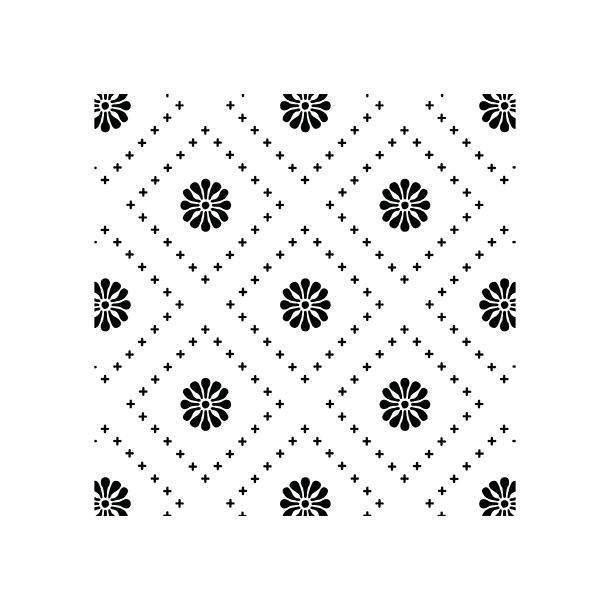Kleine Blumen - Schwarz - Deckender Fliesenaufkleber 15x15 cm