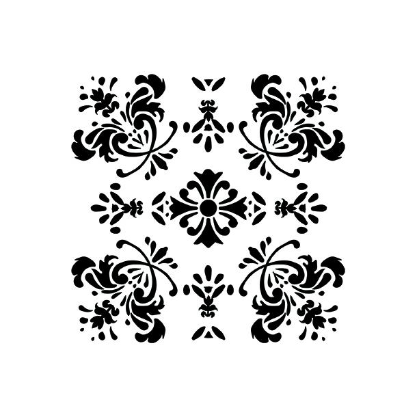 Sort romantisk blomst - Flisesticker 15x15 cm - Gennemsigtig folie