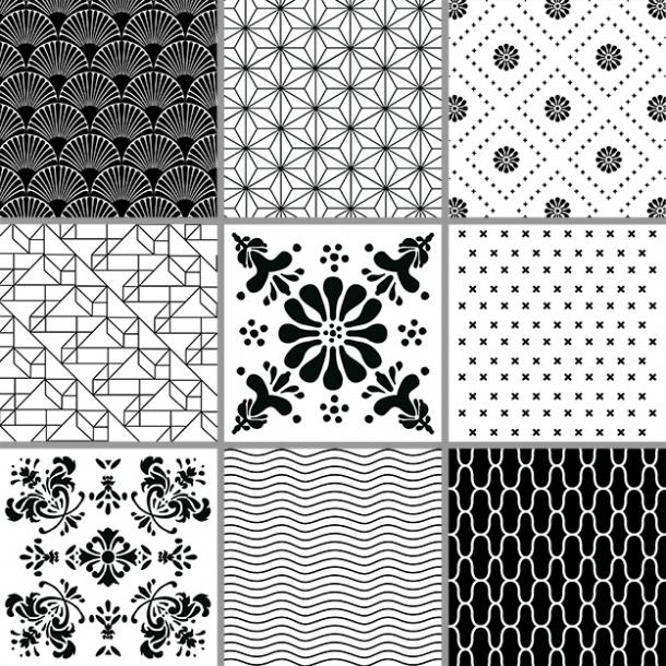 Sorte Mønstre - Sæt af 9 - Heldækkende stickers 15x15 cm