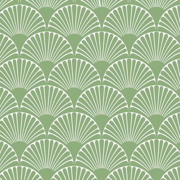 Art Deco Buer - Grøn - Gennemsigtig sticker 15x15 cm