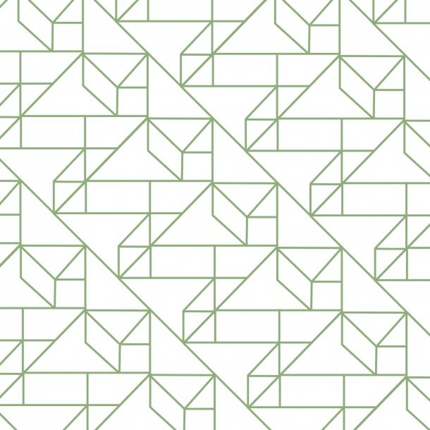 Grafisches Muster - Grün - Durchsichtiger Fliesenaufkleber 15x15 cm
