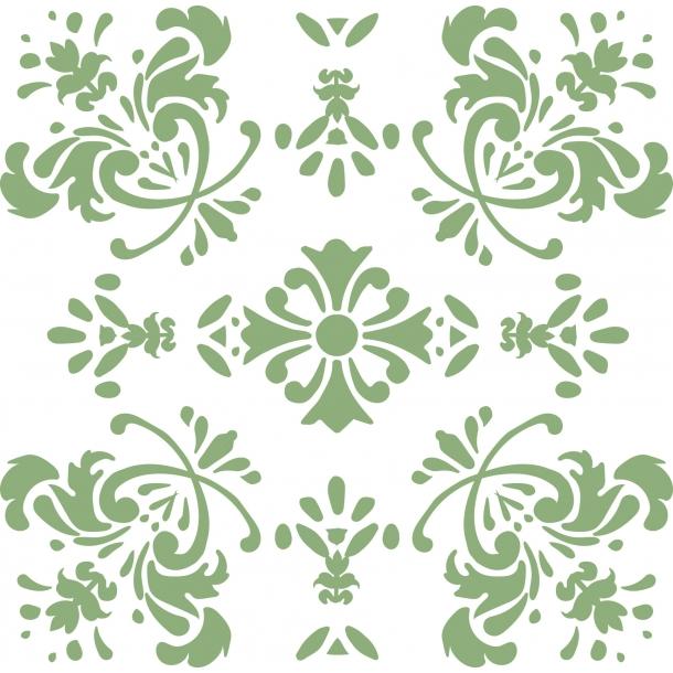 Romantische Blume - Grün - Durchsichtiger Fliesenaufkleber 15x15 cm