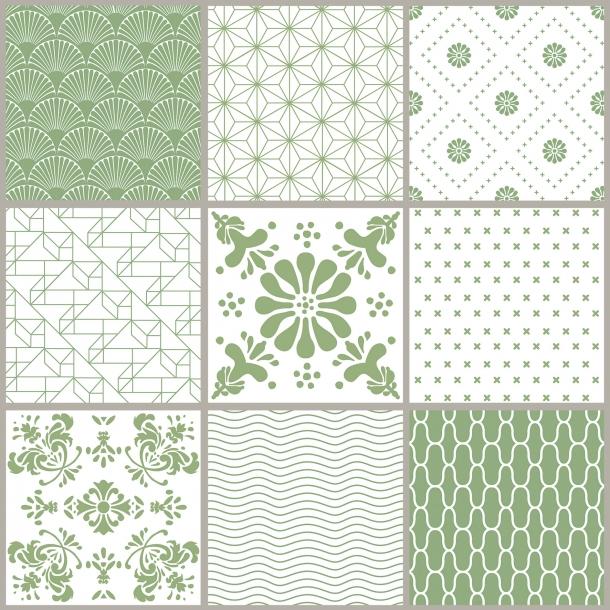Grün Muster - Set mit 9 - Durchsichtige Fliesenaufkleber 15x15 cm