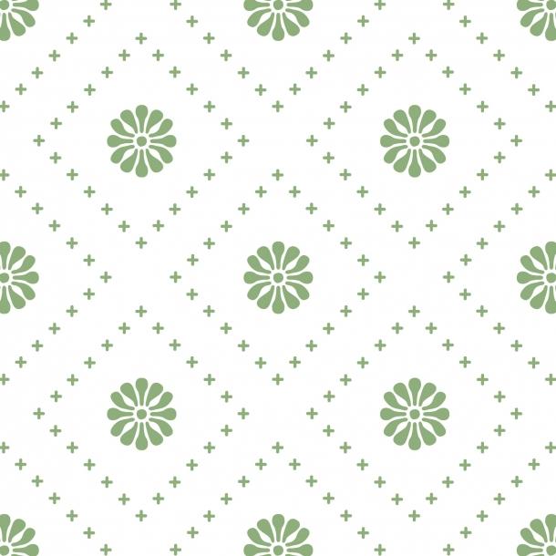 Kleine Blumen - Grün - Durchsichtiger Fliesenaufkleber 15x15 cm