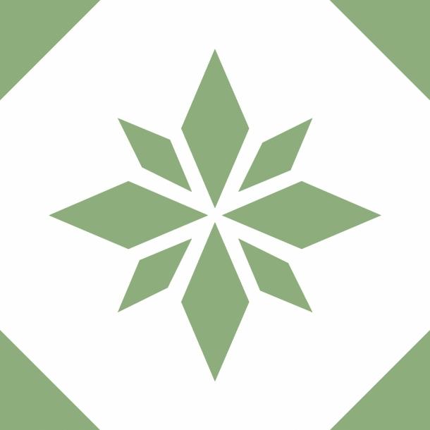 Grüner Stern - Durchsichtiger Fliesenaufkleber 15x15 cm