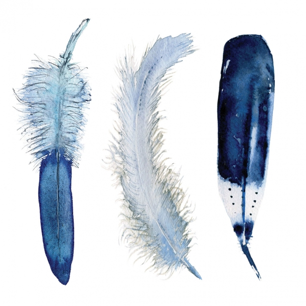 3 Federn - Durchsichtiger Fliesenaufkleber 15x15 cm