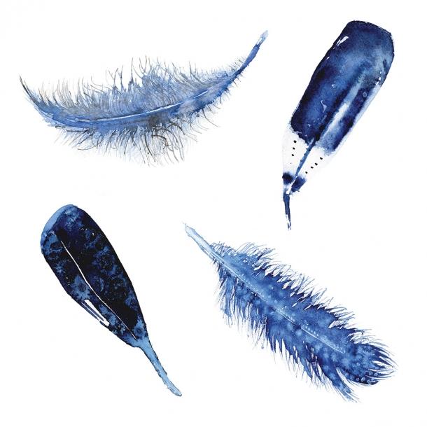 4 Federn - Durchsichtiger Fliesenaufkleber 15x15 cm