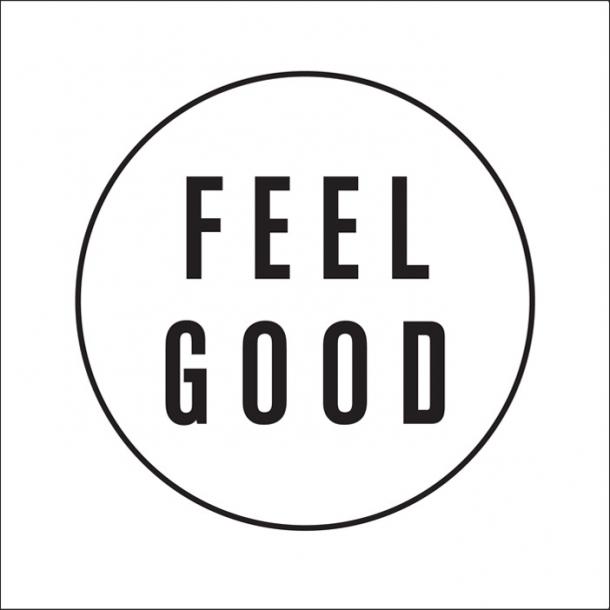 Feel good - Schwarz - Durchsichtiger Fliesenaufkleber 15x15 cm