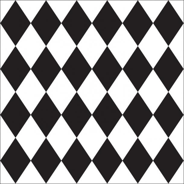Harlekin Tern - Sort - Gennemsigtig sticker 15x15 cm